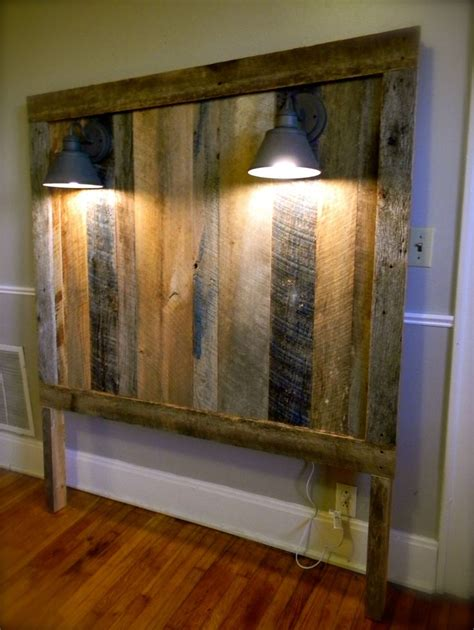 barnwood headboards barnwood headboard w lighting gage collection