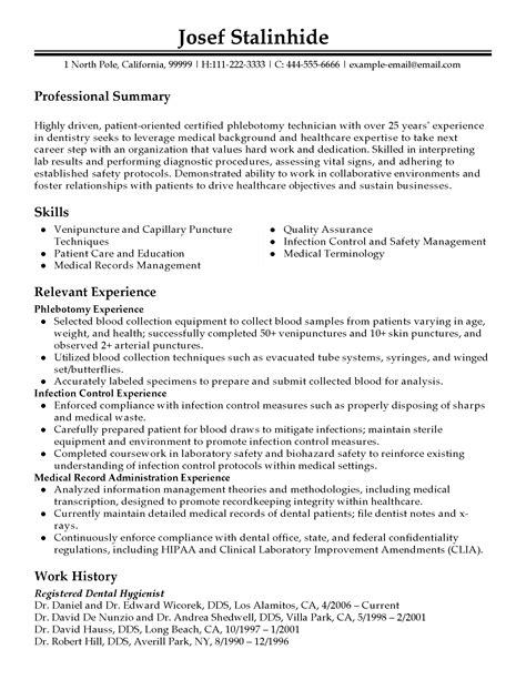 Sle Resume Cover Letter For Phlebotomist Professional Phlebotomy Technician Templates To Showcase Your Talent Myperfectresume