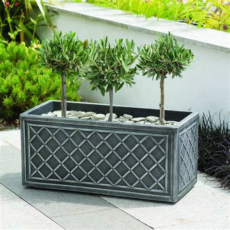 Planters Uk by Stewart Lead Effect Trough Planter 70cm 163 22 99