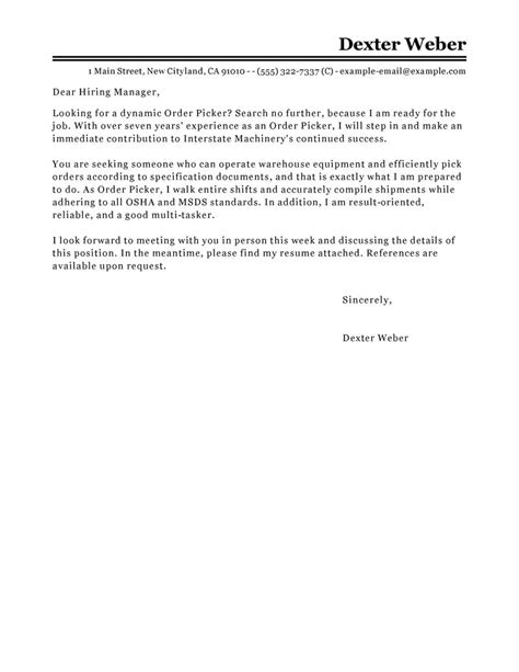 customized cover letter best order picker cover letter exles livecareer