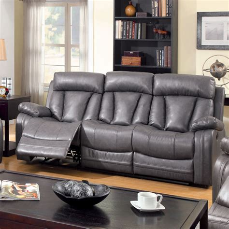 Gray Faux Leather Reclining Sofa Furniture Of America Hurshel Grey Faux Leather Reclining