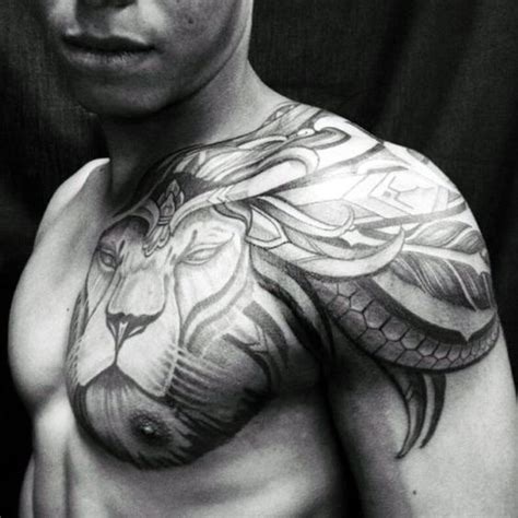 tattoo ideas chest and arm creative male lion chest and shoulder tribal tattoos