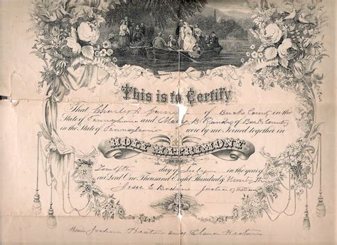 Randall County Marriage Records 12th Of July 1893 Bucks County Marriage Certificate For
