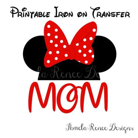 printable iron on minnie mouse instant download print at home hot pink mouse ears mom