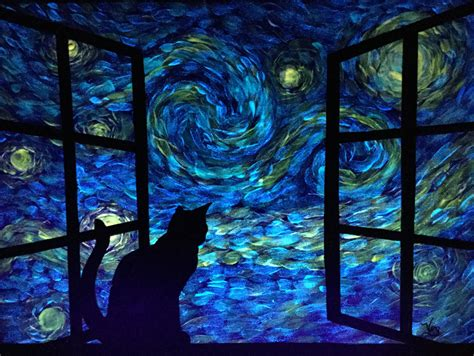 glow in the painting etsy glow in the cat painting starry sky glowing cat