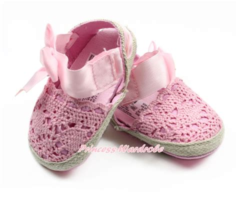 light pink baby shoes light pink ribbon bow crochet lace slip on newborn baby