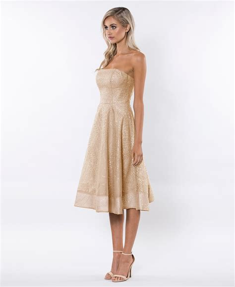 Strapless Dresses by Bariano Gold Embellished Strapless Skater Dress Alila