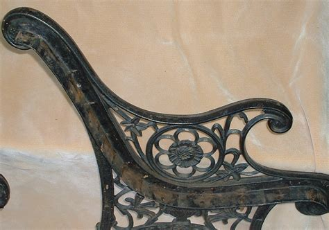 antique cast iron bench ends 2 vintage salvaged cast iron park bench ends good