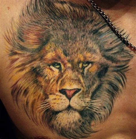 realistic lion tattoo realistic on chest tattooimages biz