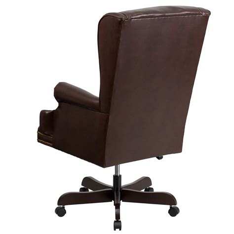 brown leather tufted office chair high back traditional tufted brown leather executive