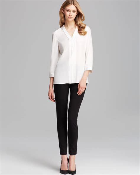 White Silk Blouse V Neck by Lyst Lafayette 148 New York V Neck Silk Blouse In White