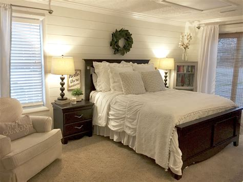 plank bedroom furniture shiplap bedroom walls with farmhouse charm magnolia wreath and alabaster white paint the
