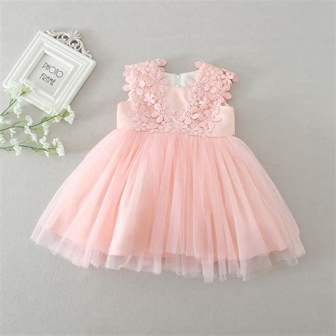 Carset 3 In Hug Flower Dress Hotpink aliexpress buy baby dresses pink lace flower baptism dress birthday baby