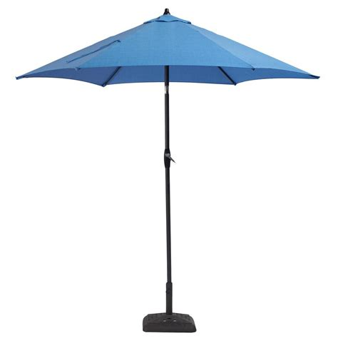 Patio Umbrellas That Tilt Hton Bay 9 Ft Aluminum Patio Umbrella In Periwinkle With Tilt 9900 01241311 The Home Depot
