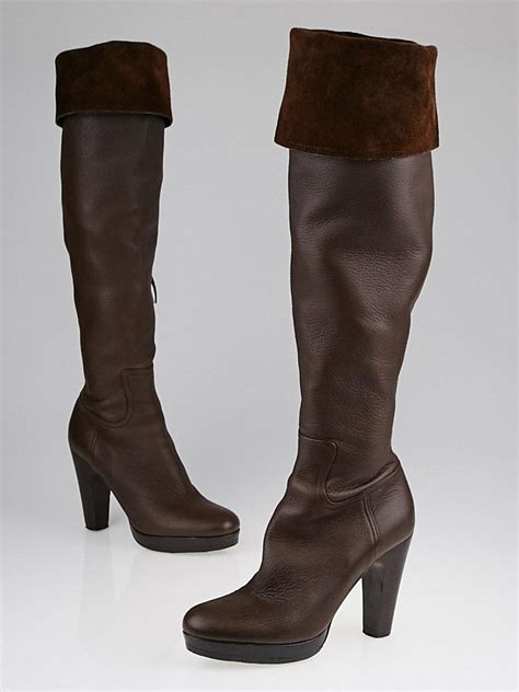 miu miu brown leather platform knee high boots size 6 5 37