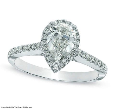 zales classic pear shaped halo engagement ring in