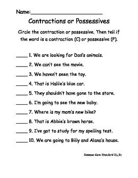 Contractions or Possessives Worksheet for Common Core ELA