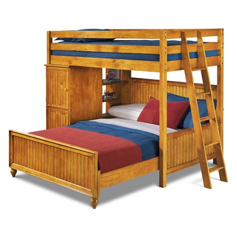 Colorworks Loft Bed With Full Bed Honey Pine Value Loft Bed