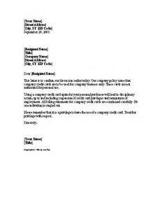 Personal Credit Letter Warning For Personal Use Of Company Credit Letter Templates