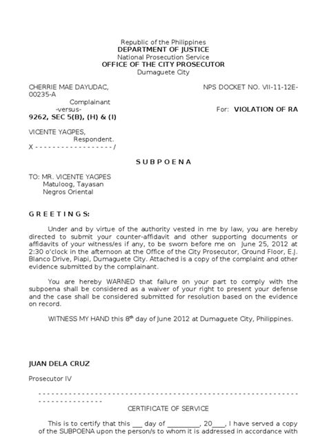 certification letter for subpoena sle subpoena for respondent
