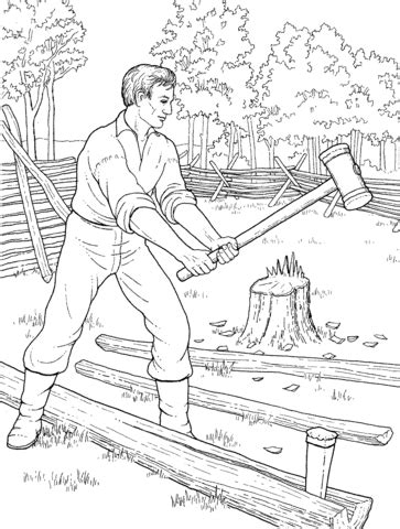 young abe lincoln was good with an axe coloring page supercoloring sketch template