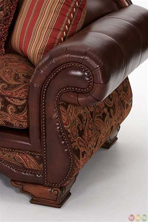 Leather Fabric Sofa by Michael Amini Tuscano Brick High Leather And Fabric Back