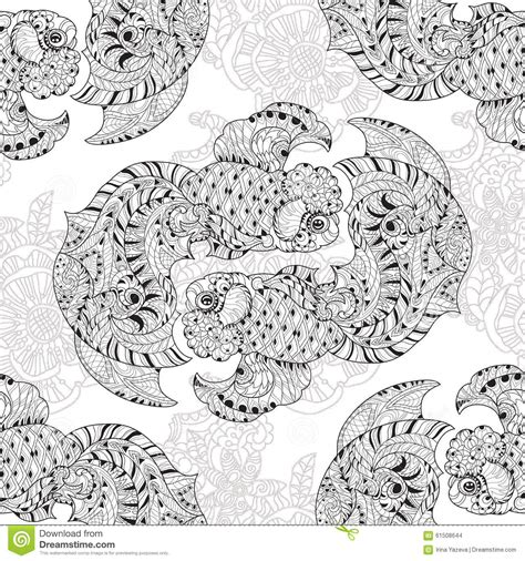 doodle 4 china zentangle stylized floral china fish doodle stock vector
