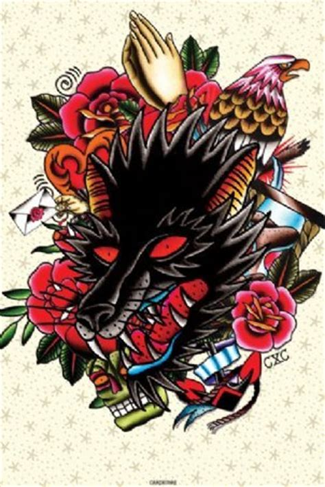 Ed Hardy Tattoos For Dogs by Cardxcore Wolf And Poster Buy At