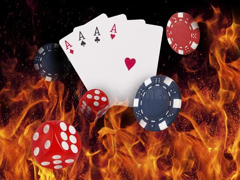 poker cards burn   fire stock image image