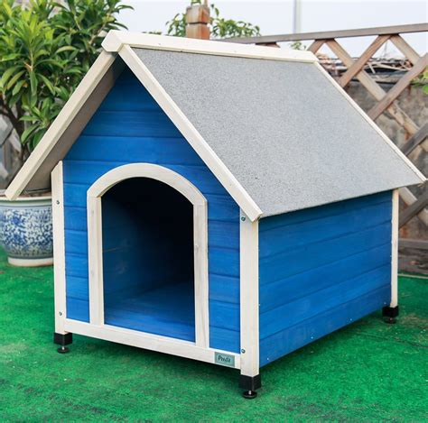 blue dog house petsfit large wooden dog kennel with adjustable foot mat