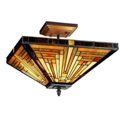Chloe Lighting Innes 2 Light Bronze Tiffany Style Mission Mission Style Ceiling Light
