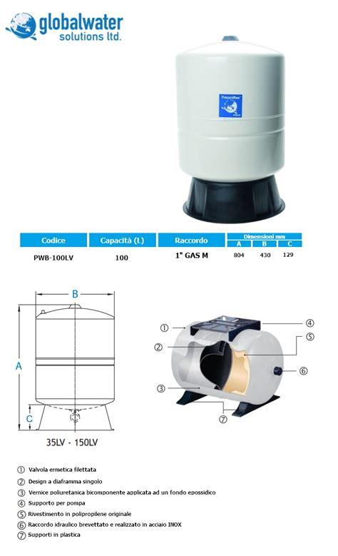 vaso espansione 100 litri elbi serbatoi polmoni zincati senza membrana serie sc e sc