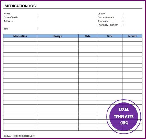 Medication Log Template Excel Templates Excel Spreadsheets Excel Templates Excel Medication Log Template Excel