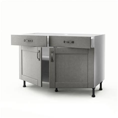 meuble de cuisine bas gris 2 portes 2 tiroirs nuage h 70