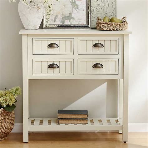 buttermilk beadboard 4 drawer console table buttermilk beadboard 4 drawer console table kirklands