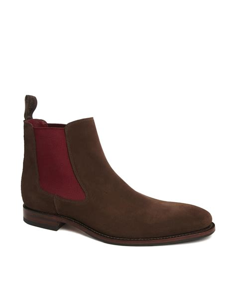 chelsea boots lyst loake suede chelsea boots in brown for