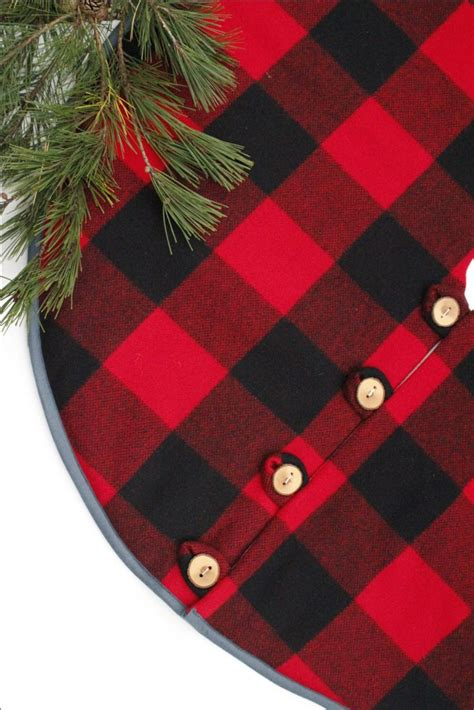 christmas tree skirt pendleton buffalo check wool