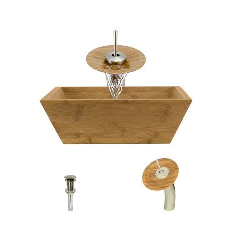 mr direct sinks and faucets mr direct vessel in bamboo with waterfall faucet and