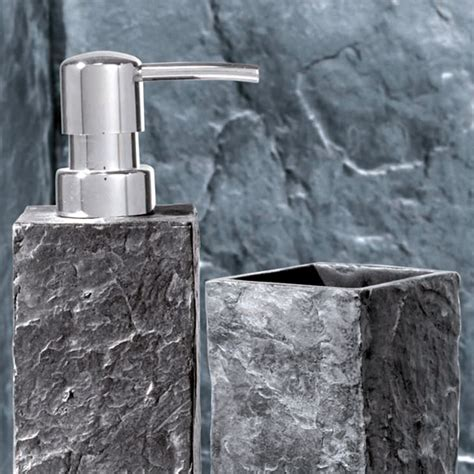Slate Bathroom Accessories Wenko Slate Rock Bath Accessories Set At Plumbing Uk