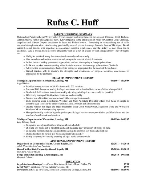 Summary Resume Sample by Huff Rufus Paralegal Resume