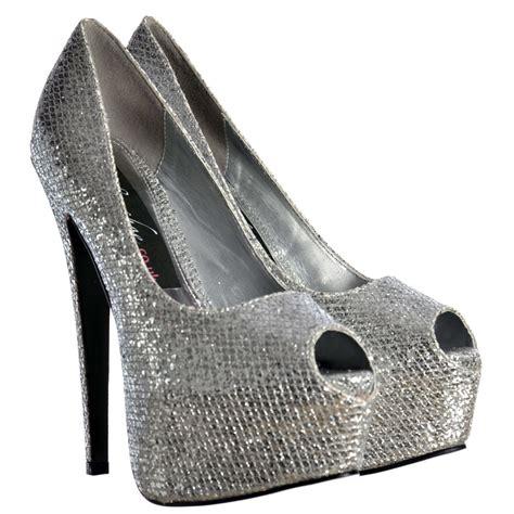 Platform High Silver And White shoekandi peep toe sparkly glitter stiletto concealed platform high heel shoes silver