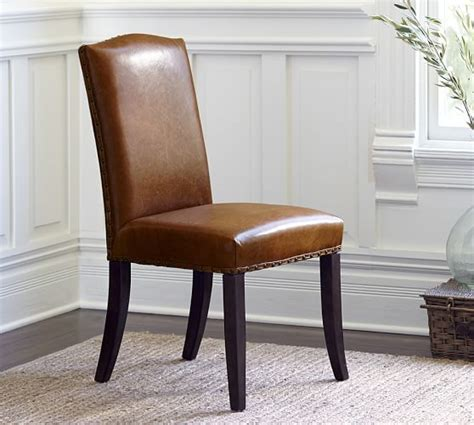 Dining Room Leather Side Chairs Staten Leather Side Chair Pottery Barn