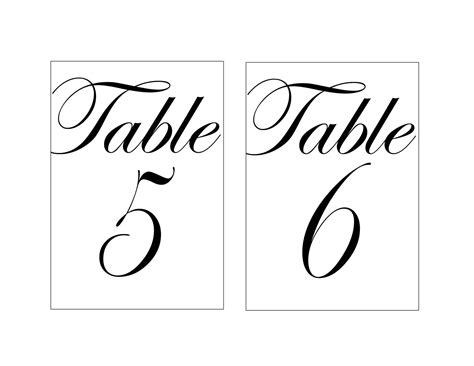 Table Numbers Template Printable Table Numbers Table Number Pinterest Table