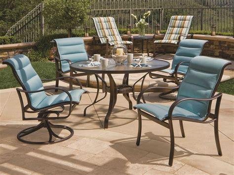 tropitone shoreline padded sling aluminum dining chair