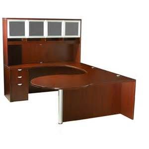 Computer Credenza Desk Curved Series P Shape Desk W Glass Door Hutch