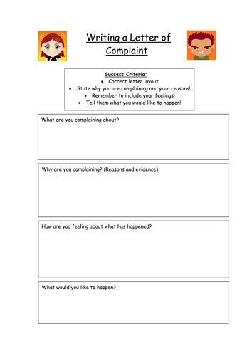 letter complaint planning frame kez teaching