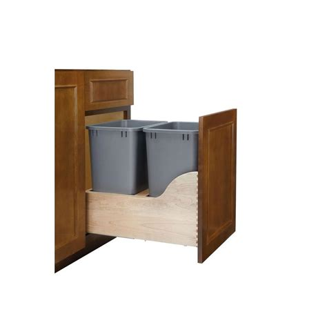 double 35 qt top mount wood pull out trash containers rev rev a shelf double 35 qt pull out bottom mount wood and