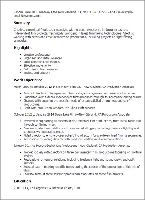 Manufacturing Associate Cover Letter by Production Associate My Resume