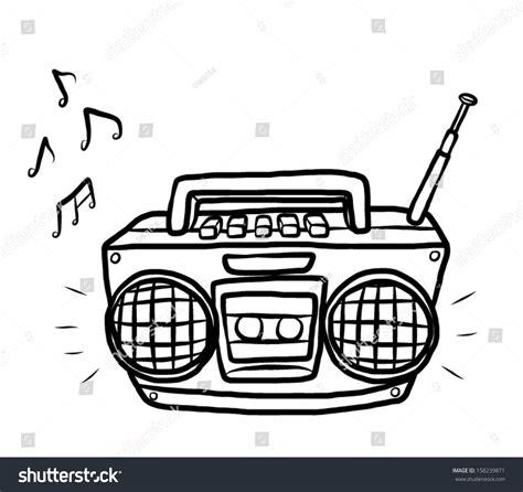sketchbook radio radio cassette player vector stock vector
