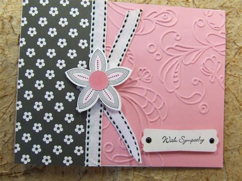 Handmade Cards Stin Up - handmade sympathy card embossed using stin up flower